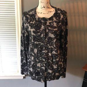 Sweaters - Worn once Croft & barrow black and cream cardigan.